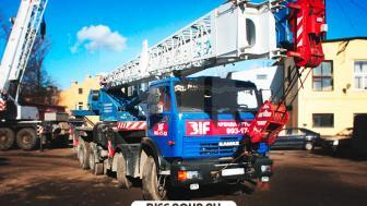 Аренда автокрана Галичанин 32 тонны с гуськом 9 метров